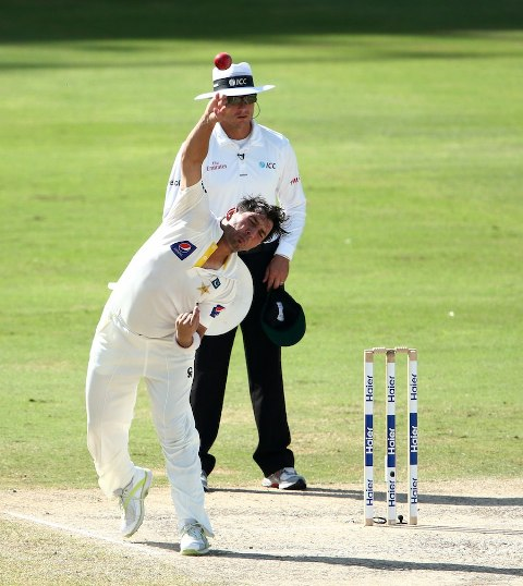 Debutant Yasir Shah bowls during the fifth day