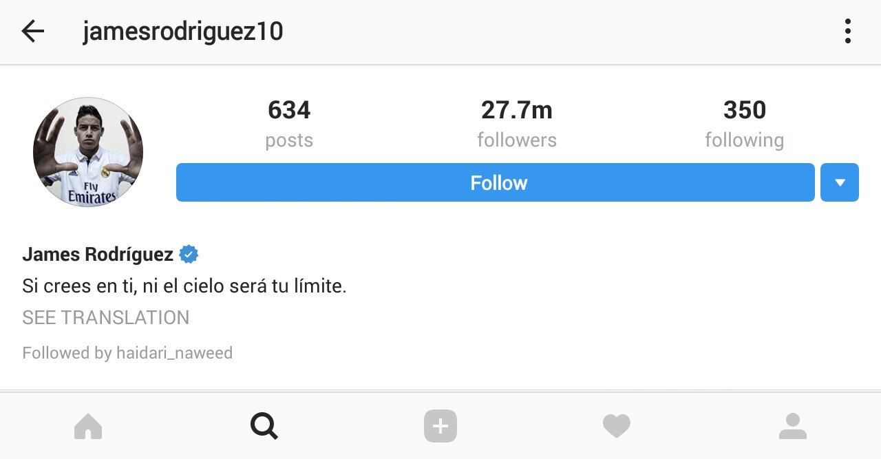 James Rodriguez Is among Famous Instagram Popular Soccer Players 2017