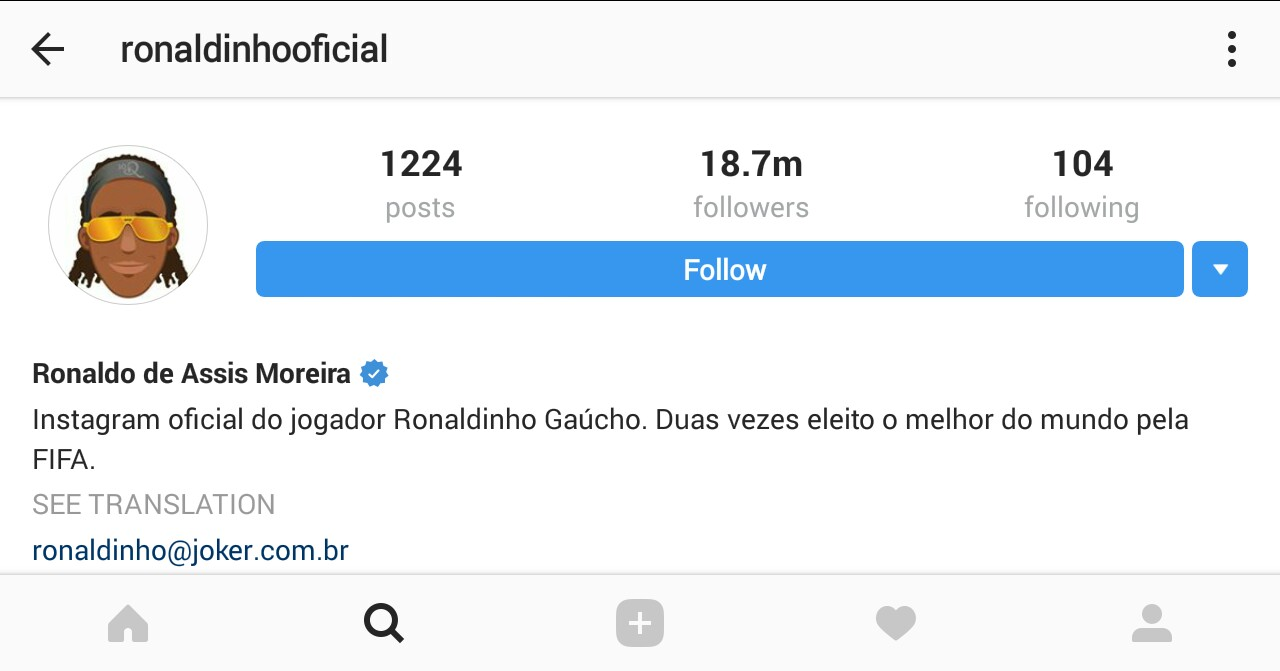 Ronaldinho Is among Great Instagram Popular Soccer Players 2017