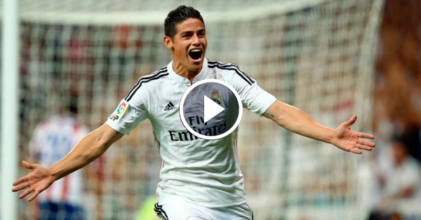 James scores the second goal against Granada for Real Madrid!