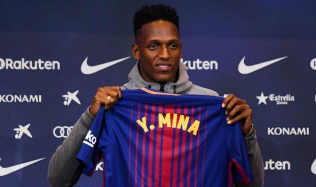 Yerry Mina welcomed in Barcelona
