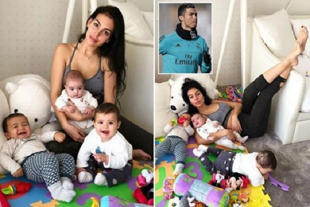 CR7 Girlfriend posts contrasting pictures with Baby Alana and Twins